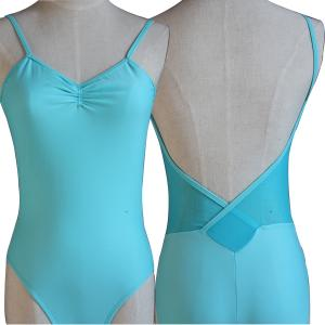 China 2014 NEW women's adorable camisole ballet leotard with V mesh back and pinched front gymnastic leotards dance clothing on sale