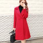 Thickening of ladies wool and cotton turn-down collar coat fashion and casual