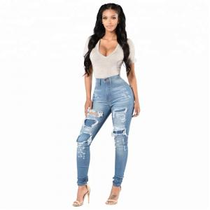 China Custom Ladies High Waisted Jeans Blue Full Length With Broken Hole on sale