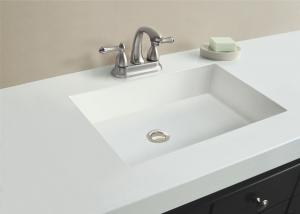 China White Color Artificial Stone Vanity Tops And Countertops 14 Or 20 Mm Thickness on sale