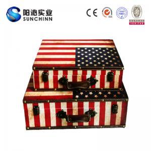 China Toile imprimant le tronc en bois de boîte à cartes de valise/mariage/boîte de stockage on sale