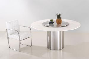 China Real Marble Dining Tables With Metal Turntable For Commericial on sale
