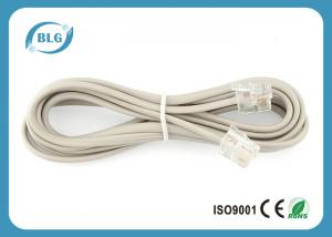 China RJ11 To RJ11 Plugs Telephone Cable Wire , Internet Phone Cable 7 Foot Bare Copper on sale