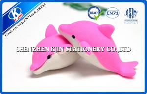 China Cartoon Pink dolphin Animal Shaped Novelty Erasers for Kids , Injection Molding on sale