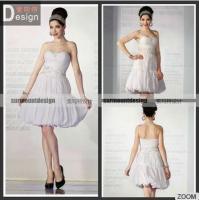 Hot Sale White Pleat Beaded Off Shoulder Knee Lenght Short Wedding Dresses UK