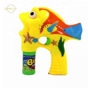 China Plastic Clown Fish Bubble Shooter Bubble Gun Toy 3*AA Batteries Included on sale