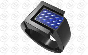 China Full PVD Black Engraved Stainless Steel Engagement Rings With Blue Carbon Fibre on sale