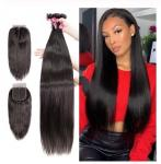 Virgin Brazilian Human Hair Extensions / 3 Bundles Human Hair With 4 X 4 Lace Closure