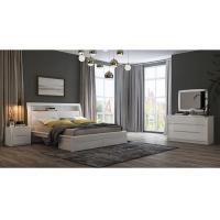 White High Gloss Bedroom Furniture / King Bed Headborad with Flap Door