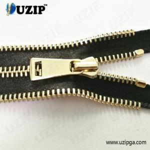 China No.5 light gold decorative four edge teeth separating jacket zipper on sale