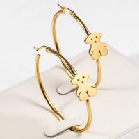 Lovely Large Dangle Hoop Earrings , Stainless Steel Gold Plated Hoop Earrings