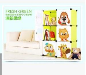 China 6 doors DIY PP green cubes book cabinet book shelf for children on sale