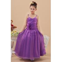 China High End Purple A Line Spaghetti Straps Unique Flower Girl Dresses with Organza Fabric on sale