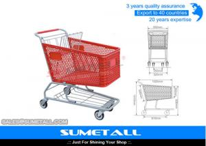 China 180L Plastic Shopping Trolley Supermarket Shopping Cart With TPR Wheels on sale