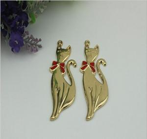 China Fashion ladies shoes accessories zinc alloy gold fox pattern metal lable tag with drip glue on sale