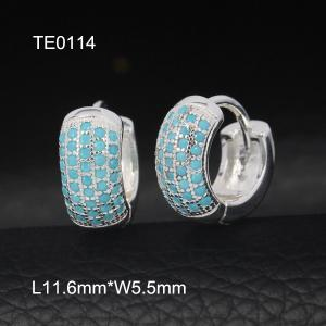 China OLF Fashion Lovely Ladies 925 Sterling Silver Hoop Turquoise Earring with stock available on sale