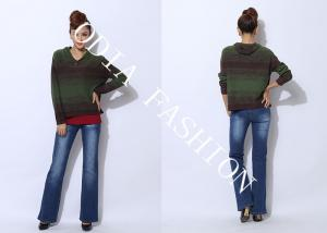 China Army green Hooded Womens Pullover Sweaters Straight with button on sale
