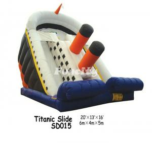 China Cool Design Inflatable Slide In Titanic Slide Shape For Kids Playing Outdoors on sale