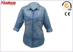 China Fashionable Women Denim Work Clothes / Ladies Denim Long Sleeve Shirt Quick Dry on sale