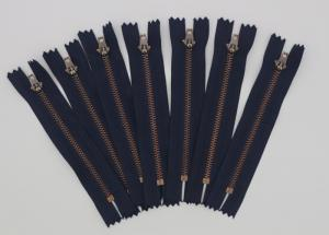 China Antique Copper YG 5 Inch Metal Dress Zips Black / Navy Or Blue Tape Customized on sale