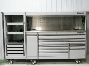 "China Snap On Arctic Silver 84"" Epiq Tool Box Stainless Top Hutch & Full Size Locker. Whatsapp: +4915175761583 wholesale"