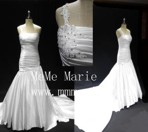 China Long tail one-should mermaid backless applique lace wedding dresses BYB-14589 on sale