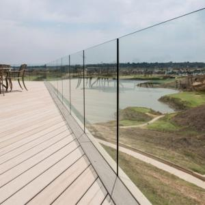 China Exterior Frameless Glass Deck Railing with Aluminum U Channel Profile / U Channel Glass Balustrade on sale