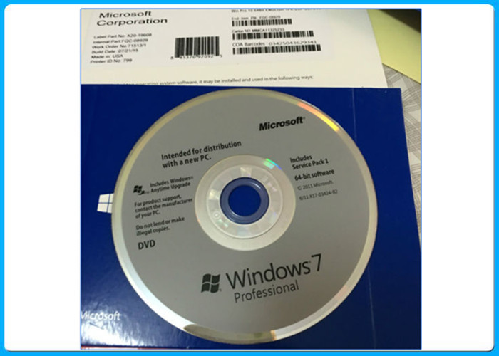 Microsoft Windows 7 Professional 64 Bit SP1 Full Version New Sealed