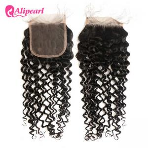 China Natural Wave Brazilian Curly Lace Closure 4×4 Inches With Baby Hair on sale