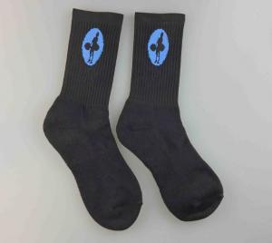 China Jacquard Logo Mens Black Sports Socks Standard Thickness Customized Size on sale