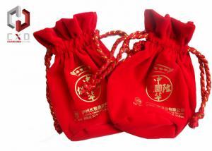 China Sac de cordon rond rouge de velours avec le logo imprimé par écran en soie on sale