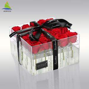 China Plexiglass Clear Acrylic Storage Box Acrylic Flower Custom Packaging Box For Preserved 25 Roses on sale