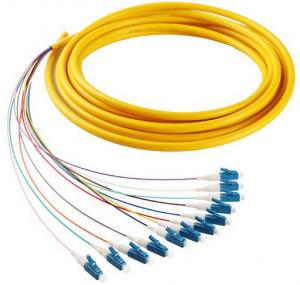 Quality 12 cores LC/UPC SM 9/125 fiber optic bundle pigtail yellow LSZH out jacket for sale