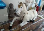 Sitting Style Window Display Decorations Fiberglass Unicorn Statue With Fake Hair