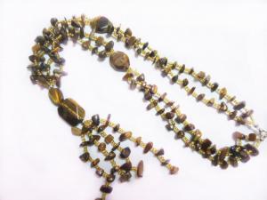 China Irregular Beads Tiger Eye Stone Necklace Wholesale, Semi Precious Gem Jewelry on sale