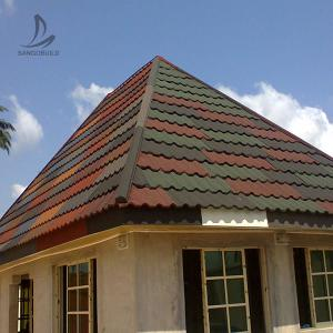 China Sangobuild China price 24 25 26 gauge red black stone coated ceramic tiles metal roofing shingles for house roof plan on sale