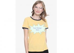 China Yellow Casual T Shirts For Ladies , Slim Fit Plain T shirts O - Neck Printed on sale