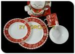 Cute Christmas 16 Piece Round Dinnerware Sets With 12 Ounce Mug And Bowl