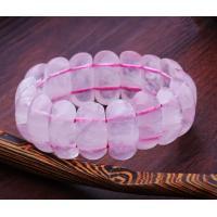 Pink rose quartz bracelets, flat oval gemstone beaded bracelets, Aquarius luck stone