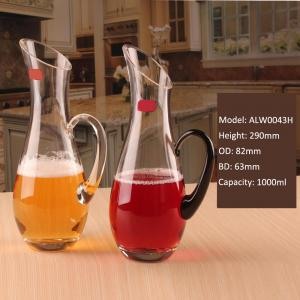 China Crystal Wine Decanter Crystal Glass Cocktail Carafe Black Handle Wine Decanter on sale