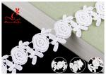 Embroidered Flower Guipure White Cotton Lace Ribbon For Fashion Clothes