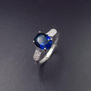 China Real Silver Cubic Zirconia Rings Stores / Ladies Blue Gemstone Rings on sale