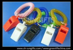 China Alert key coils, wrist key chain coil and plastic whistle, wrist bands on sale