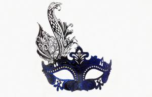 China Venice Carnival Masks For Adult , Blue Filigree Masquerade Mask on sale