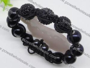China OEM & ODM Shamballa beaded bracelets 1760011 with crystal black stone beads on sale