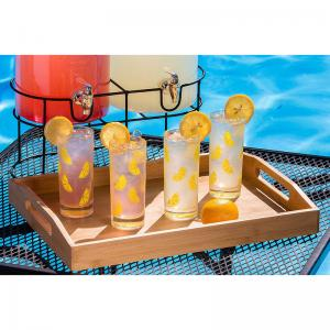 China oversized wood bamboo food serving tray with handle and folding legs on sale