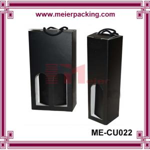 China Custom black corrugated cardboard carry box with rope handle for wine bottle on sale