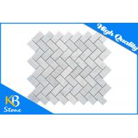 Honed Bianco Carrara White Herringbone Marble Mosaic Kitchen Tiles / Floor or Wall Tile