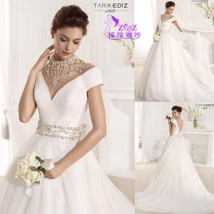 China Gorgeous TE-W025 Low-cut Back Jewery Neck Simple White Tulle Wedding Bridal Gowns on sale