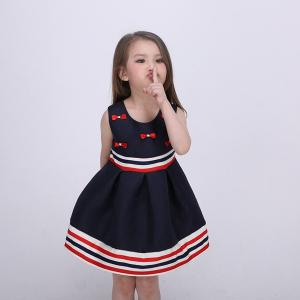 China Sleeveless Bow Front  Girls Fall Dresses Strips Tape Waist And Bottom Age 5 on sale